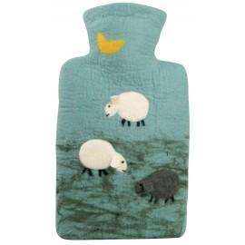 Bouillotte avec housse en laine mérinos (Moutons)