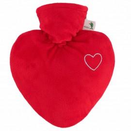 """Bouillotte Coeur en velours rouge avec motif """"coeur brodé"""""""