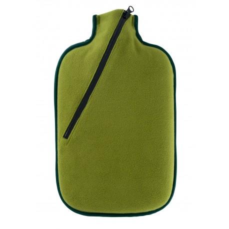 Bouillotte avec housse en Softshell kaki pour le bivouac et le camping